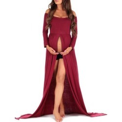 Mother Bee Maternity Women's Maxi Dresses Burgundy - Burgundy Off-Shoulder Maternity Gown found on Bargain Bro Philippines from zulily.com for $22.99