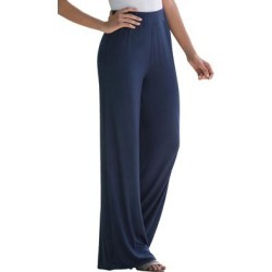Plus Size Women's Everyday Knit Palazzo Pant by Jessica London in Navy (Size 26/28) found on Bargain Bro Philippines from Ellos for $29.99