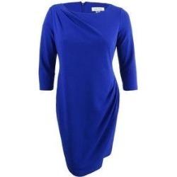 Calvin Klein Women's Draped Sheath Dress (6, Ultramarine) (Ultramarine), Blue(polyester) found on Bargain Bro Philippines from Overstock for $58.49