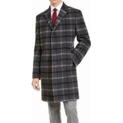 Tommy Hilfiger Mens Gray Size 38R Plaid Print Button Overcoat Wool (38R), Men's found on Bargain Bro Philippines from Overstock for $104.99