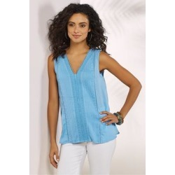 Women Ingénue Tank Top by Soft Surroundings, in Soft Blue size 1X (18-20)