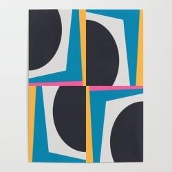 Art Poster   Modern Geometric 65 Blue by The Old Art Studio - 18