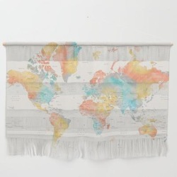 World Map With Countries And States, Fifi Wall Hanging by Blursbyaishop - Large 47