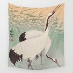 Two Cranes In The Lake - Japanese Vintage Woodblock Print Wall Hanging Tapestry by Vintagejapaneseart - 51