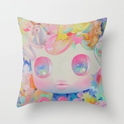 Couch Throw Pillow | 'let Me Tell You My Dream' Cute Colorful Rainbow Art by So Youn Lee - Cover (16