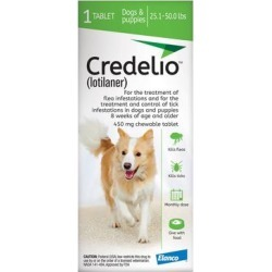 Credelio For Dogs 25-50 lbs (450mg) Green 6 Doses found on Bargain Bro Philippines from Canadapetcare.com for $88.89