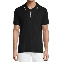 Karl Lagerfeld Mens Shirt Black Small S Ribbed Knit S/S Tipped Polo found on MODAPINS from Overstock for USD $47.98