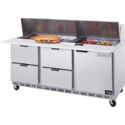 """Beverage Air SPED72-12C-4 72"""" 1 Door 4 Drawer Cutting Top Refrigerated Sandwich Prep Table with 17"""" Cutting Board"""