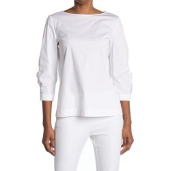 June 3/4 Sleeve Blouse - White - Lafayette 148 New York Tops found on Bargain Bro from lyst.com for USD $114.00