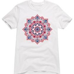 Instant Message Women's Women's Tee Shirts WHITE - White & Red Mandala Boyfriend Tee - Women
