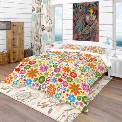 Designart 'Retro Flower Pattern' Bohemian & Eclectic Bedding Set - Duvet Cover & Shams (Full/Queen Cover +2 Shams (comforter not included)), Green, found on Bargain Bro from Overstock for USD $83.33