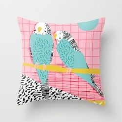 """Hottie - Throwback Retro 1980s 80s Style Memphis Dots Bird Art Neon Cool Hipster College Dorm Art Couch Throw Pillow by Wacka - Cover (16"""" x 16"""") with pillow insert - Indoor Pillow"""
