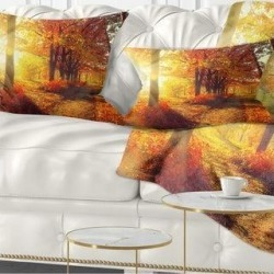Designart 'Autumnal Trees in Sunrays' Landscape Printed Throw Pillow (Rectangle - 12 in. x 20 in. - Medium), Red, DESIGN ART(Polyester, Nature) found on Bargain Bro from Overstock for USD $30.77