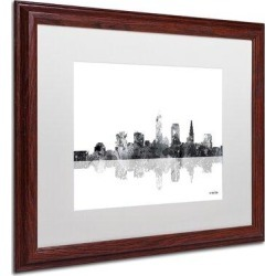 Trademark Fine Art 'Cleveland Ohio Skyline BG-1' Matted Framed Graphic Art on CanvasCanvas & Fabric in Brown, Size 11.0 H x 14.0 W x 0.5 D in found on Bargain Bro Philippines from Wayfair for $61.24