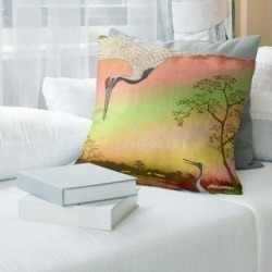 Porch & Den Utagawa Hiroshige 'Japanese Cranes' Throw Pillow (14 x 14 - Red & Green Ombre - Linen), Multicolor found on Bargain Bro from Overstock for USD $37.27