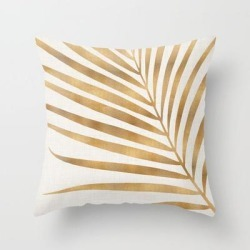 Couch Throw Pillow | Metallic Gold Palm Leaf by Modern Tropical - Cover (16