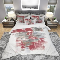 Designart 'Moving in and Out of Traffic I Red Grey' Geometric Bedding Set - Duvet Cover & Shams found on Bargain Bro from Overstock for USD $86.94