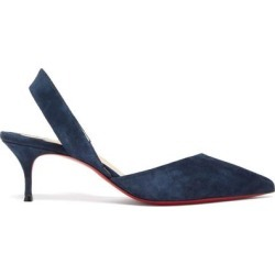Viola 55 Slingback Suede Pumps - Blue - Christian Louboutin Heels found on Bargain Bro from lyst.com for USD $528.20