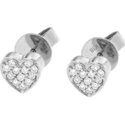 Diamond Heart Stud Earrings In 18k White Gold - Metallic - Cosanuova Earrings found on Bargain Bro from lyst.com for USD $500.84