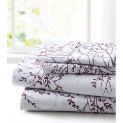 Spirit Linen Home Sheet Sets White - White & Lilac Foliage Sheet Set found on Bargain Bro Philippines from zulily.com for $17.99