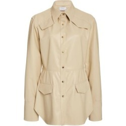 Sierra Vegan Leather Shirt - Natural - Deveaux Tops found on Bargain Bro from lyst.com for USD $604.20