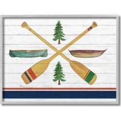 Millwood Pines Camping Crossed Oars Boats Blue White Rustic Art by Kim Allen - Graphic Art Print Wood in Brown, Size 13.0 H x 19.0 W x 1.5 D in found on Bargain Bro Philippines from Wayfair for $28.02