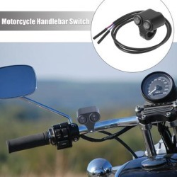"""DC 12V 7/8""""22mm Motorcycle Handlebar Double Control On Off Push Switch - Black"""