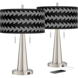 Victory March Vicki Brushed Nickel USB Table Lamps Set of 2 found on Bargain Bro Philippines from LAMPS PLUS for $159.99