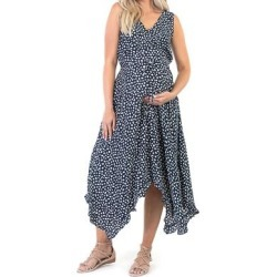 Mother Bee Maternity Women's Casual Dresses Navy1 - Navy & White Floral Maternity Sleeveless Handkerchief Dress found on Bargain Bro Philippines from zulily.com for $24.99