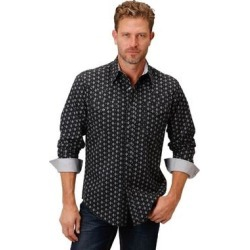 Roper Western Shirt Mens L/S Print Snap Blue (M), Men's(cotton, printed) found on Bargain Bro India from Overstock for $48.94