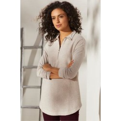 Women Adalyn Pullover Top by Soft Surroundings, in Soft Taupe Heather size 1X (18-20)