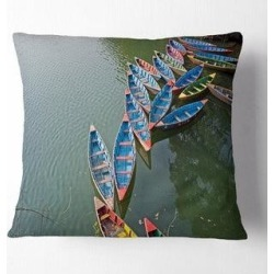 Designart 'Phewa Lake in Pokhara Nepal' Boat Throw Pillow (Square - 18 in. x 18 in. - Medium), Multicolor, DESIGN ART(Polyester, Nature) found on Bargain Bro from Overstock for USD $22.56