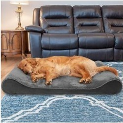 FurHaven Minky Plush Luxe Lounger Cooling Gel Dog Bed w/Removable Cover, Gray, Jumbo found on Bargain Bro from Chewy.com for USD $75.23