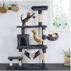 Yaheetech 61.5-in Plush Cat Tree & Condo, Dark Gray found on Bargain Bro India from Chewy.com for $74.99