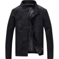 Men's Faux Leather Jacket Double Belt Punk Motorcycle Zip Slim Fit Plus Size (03 - XS) found on Bargain Bro Philippines from Overstock for $51.68