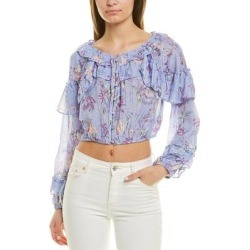 Loveshackfancy Ruffle Popover Silk-Blend Top (8), Women's, Multicolor found on Bargain Bro Philippines from Overstock for $142.99