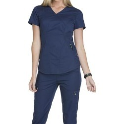 Cherokee Medical Uniforms LUXE SPORT-Mock Wrap Top (Size XS) Navy, Polyester,Rayon,Spandex found on Bargain Bro Philippines from ShoeMall.com for $29.99