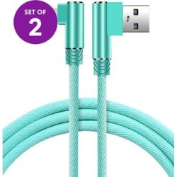 KINBOOFI Lightning Cables Green - 6.5' Green Right-Angle Lightning Cable - Set of Two found on Bargain Bro from zulily.com for USD $7.59