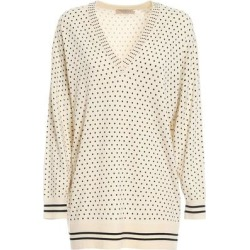 Star Print Maxi V Neck Jumper - White - Twin Set Knitwear found on Bargain Bro India from lyst.com for $233.00