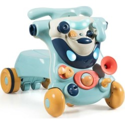 Costway 2-in-1 Baby Walker with Activity Center -Blue