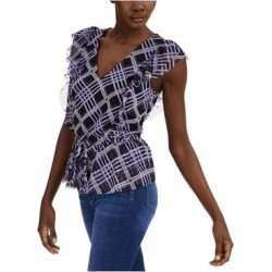 INC Womens Navy Frayed Tartan Plaid Sleeveless V Neck Top Size S (Navy - S), Women's, Blue(Polyester, Solid) found on Bargain Bro India from Overstock for $12.98