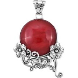 Bali Legacy Pendants Red - Sponge Coral & Sterling Silver Floral Round Pendant found on Bargain Bro Philippines from zulily.com for $19.99