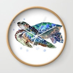 Sea Turtle, Green Blue, Sea Turtle Under Water, Sky Blue Wall Clock by Surenart - Natural - White