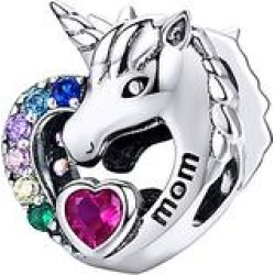 Silver Angle Women's Jewelry Charms Solid - Pink & Blue Cubic Zirconia & Sterling Silver 'Mom' Unicorn Charm found on Bargain Bro Philippines from zulily.com for $16.99