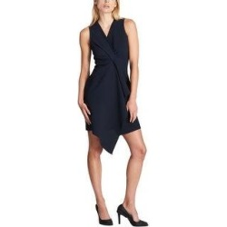 DKNY Womens Draped Front Sheath Dress, Blue, 12 (Blue - 12), Women's(polyester, solid) found on Bargain Bro from Overstock for USD $38.66