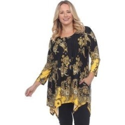 Plus Size Paisley Scoop Neck Tunic Top With Pockets - Black/Gold (1X), Women's(polyester) found on Bargain Bro India from Overstock for $33.64