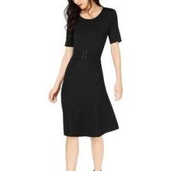 Maison Jules Belted Midi Dress Deep Black (M), Women's(nylon) found on Bargain Bro from Overstock for USD $29.23