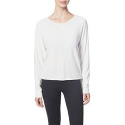 Splendid Women's Strappy 2 Way Ruched Long Sleeve Activewear Sweater (Eggshell - S)(knit) found on Bargain Bro from Overstock for USD $10.78