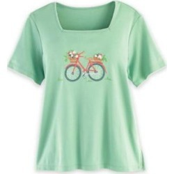 Women's Alfred Dunner Short-Sleeve Embroidered Knit Top, Kiwi Green M Misses found on Bargain Bro India from Blair.com for $34.99