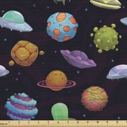 East Urban Home fab_47851_Ambesonne Space Fabric By The Yard, Ufos & Planets Gas Giant Alien Environments Science Fiction Elements | Wayfair found on Bargain Bro Philippines from Wayfair for $20.61